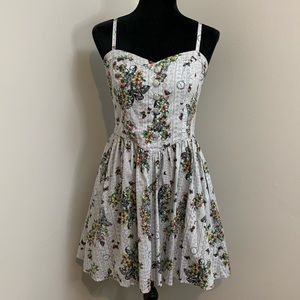 Hell Bunny Elaine floral clock dress size large